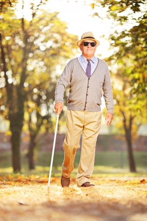 Full length portrait of a blind mature person holding a stick and walking in a park photo