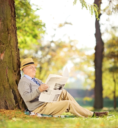 Smiling senior gentleman seated on a grass reading a newspaper in a park at autumn, shot with a tilt and shift lens photo