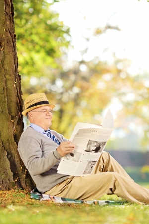 Smiling senior gentleman seated reading a newspaper in a park at autumn photo