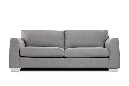 sofa: Studio shot of a grey modern sofa isolated on white background