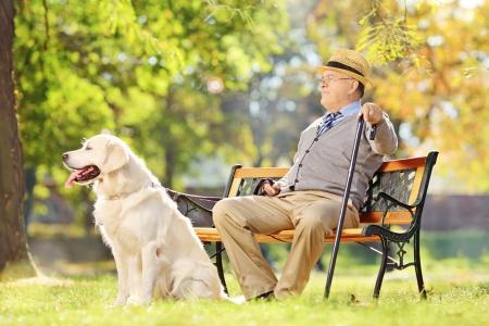 Älterer Herr sitzt auf Holzbank mit seinem Labrador Retriever und Entspannung in einem Park Standard-Bild