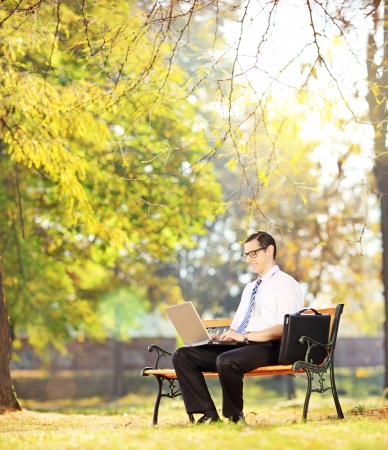 Young businessperson sitting on a wooden bench and working on a laptop in a park, shot with a tilt and shift photo
