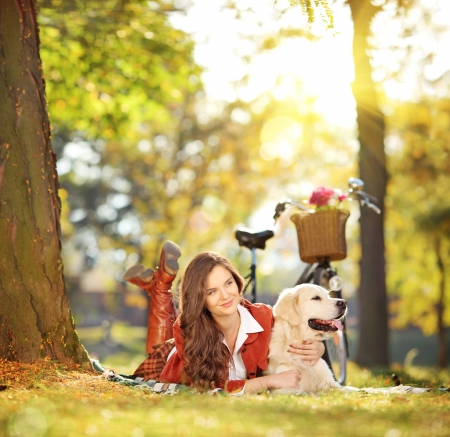 Beautiful female lying on a green grass with her labrador retriever dog in a park, shot with a tilt and shift lens photo