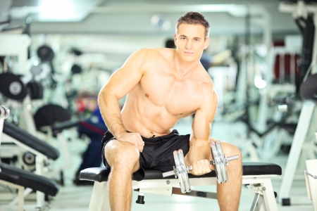 Shirtless muscular man seated on a bench lifting weight in a fitness club photo