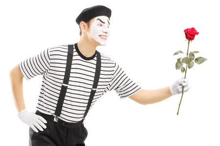 pantomima: Mimo Hombre que da una flor rosa aislada en el fondo blanco