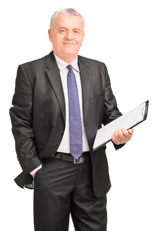 Smiling middle aged businessman holding clipboard, isolated on white background