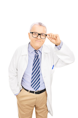 unifrom: Smiling middle aged doctor with glasses, isolated on white background Stock Photo