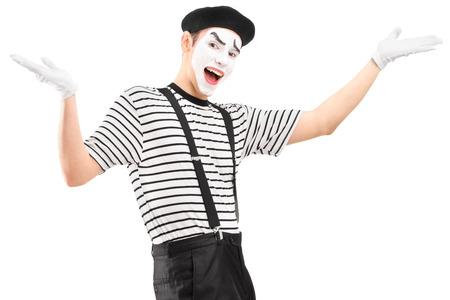pantomima: Mime bailarina haciendo un gesto con las manos, aislados en fondo blanco