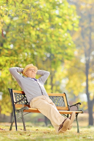 Senior gentleman sitting on wooden bench and relaxing in a park photo