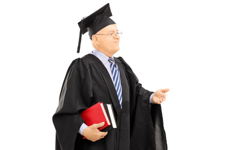 commend: College professor in graduation gown holding books isolated on white background