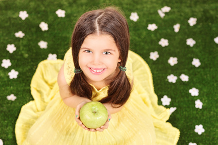 Little girl in fancy yellow dress holding an apple in a meadow full of flowers  photo