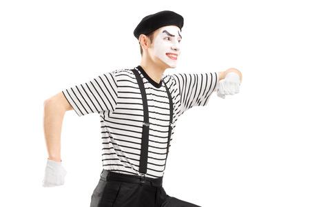pantomima: Mimo Hombre aislado en el fondo blanco