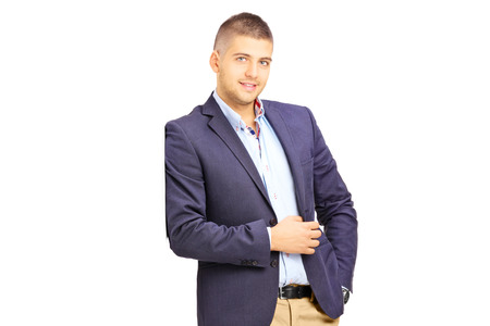 blazer: Young fashionable man leaning against a wall isolated on white background