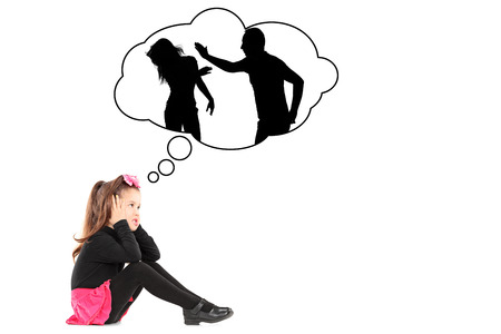 traumatized: An illustration of a traumatized little girl recalling her parents fighting isolated on white background