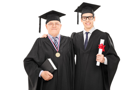 Young graduate student posing with the dean isolated on white background