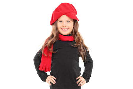 Fashionable little girl with red beret isolated  photo