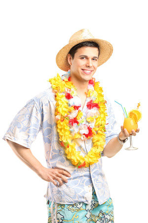 straw hat: Man in Hawaiian clothes holding a cocktail isolated  Stock Photo