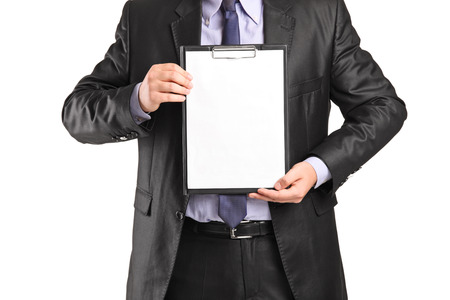 Man in formal wear holding a clipboard isolated on white background photo