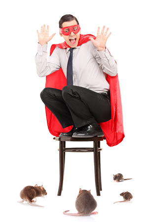 invading: Scared man in superhero costume attacked by rats isolated on white background