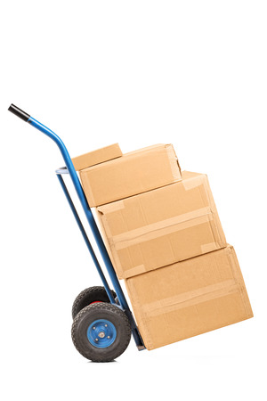 hand truck: Hand truck full of carton boxes isolated on white background