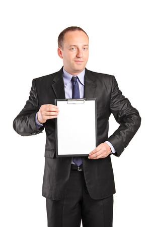Businessperson holding a clipboard isolated on white background photo