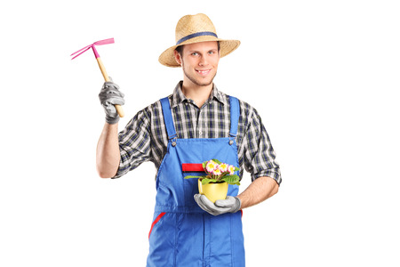 mattock: Male gardener holding flower plant and a mattock isolated on white background Stock Photo