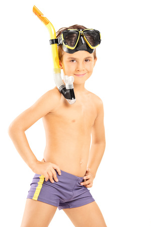beachwear: Little boy with a diving mask standing isolate on white background