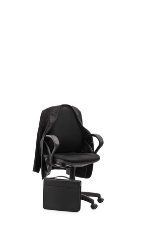 wheel chair: Studio shot of an office chair with a coat hanging on it isolated on white background Stock Photo