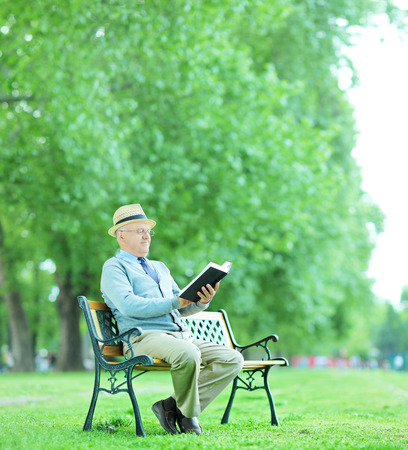 Senior gentleman reading a book in park seated on wooden bench shot with tilt and shift lens  photo