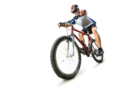 Male cyclist riding a mountain bike isolated on white background