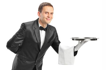 waiter tray: Professional waiter holding a tray isolated on white background