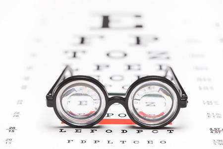 vision test: Studio foto de un par de gafas de nerd en una gr�fica optom�trica con el foco en los vidrios aislados en el fondo blanco