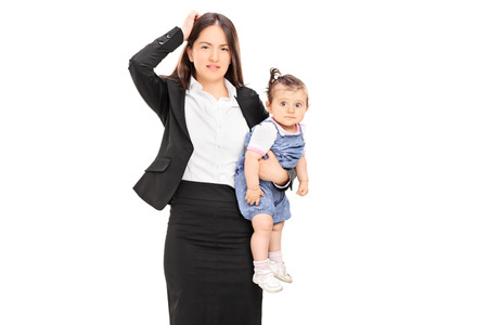 Young mother holding her baby daughter isolated on white background photo