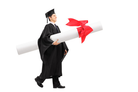 huge: Profile shot of a graduate student carrying a huge diploma isolated on white background