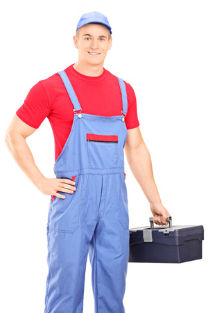 jumpsuit: Male mechanic holding a toolbox isolated on white background