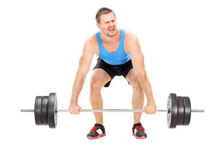 weight weightlifting: Bodybuilder struggling to lift a barbell isolated on white background