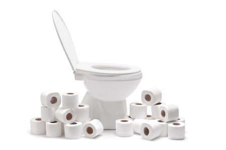 Many toilet paper rolls around a toilet bowl isolated on white background photo