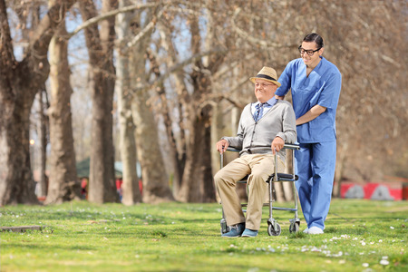 nursing staff: Male nurse pushing a senior in wheelchair outdoors on a sunny day