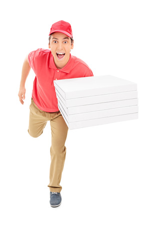 Fast pizza delivery guy running isolated on white background photo