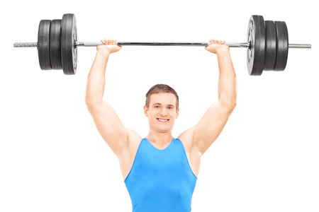 weightlifter: Male weightlifter holding a barbell isolated on white background
