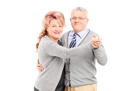 persone che ballano: Coppia ballare tango coppia isolato su sfondo bianco Archivio Fotografico