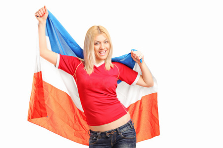 dutch girl: Female sports fan waving a Dutch flag isolated on white background Stock Photo