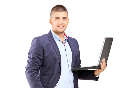 Man holding a laptop isolated on white background photo