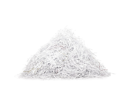 shred: Studio shot of a pile of shredded paper isolated on white background