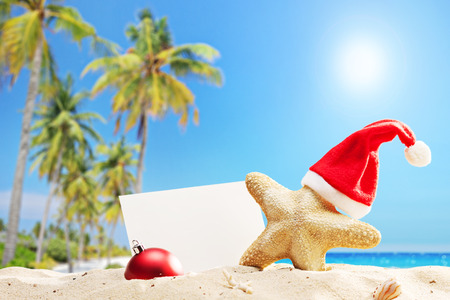 Starfish with a Santa hat and a blank banner behind it on a tropical beach photo