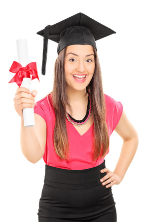 overjoyed: An overjoyed woman holding a diploma isolated on white background
