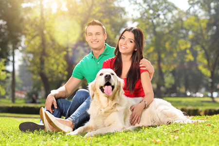 dog park: Young couple in a park with a dog on a sunny summer day Stock Photo