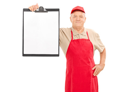 market vendor: Mature market vendor holding a clipboard isolated on white background