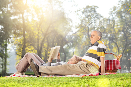 Mature couple relaxing on a picnic in park on a beautiful sunny day photo
