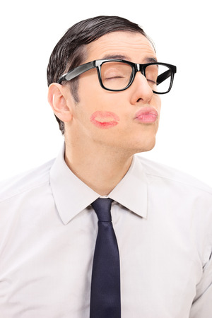 Man waiting for a kiss on the lips isolated on white background photo
